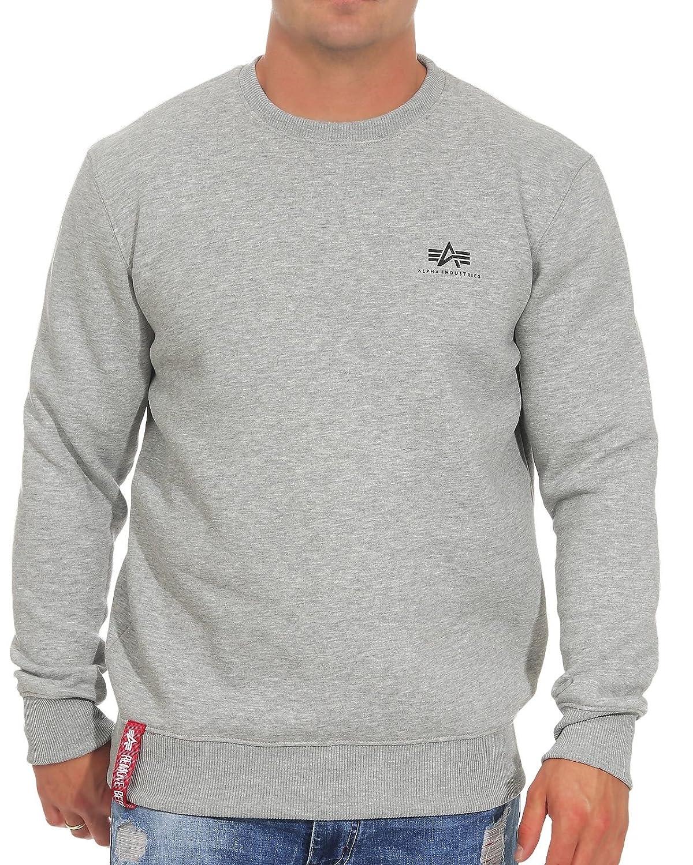 Alpha Industries Herren Pullover Basic Small Logo grau S