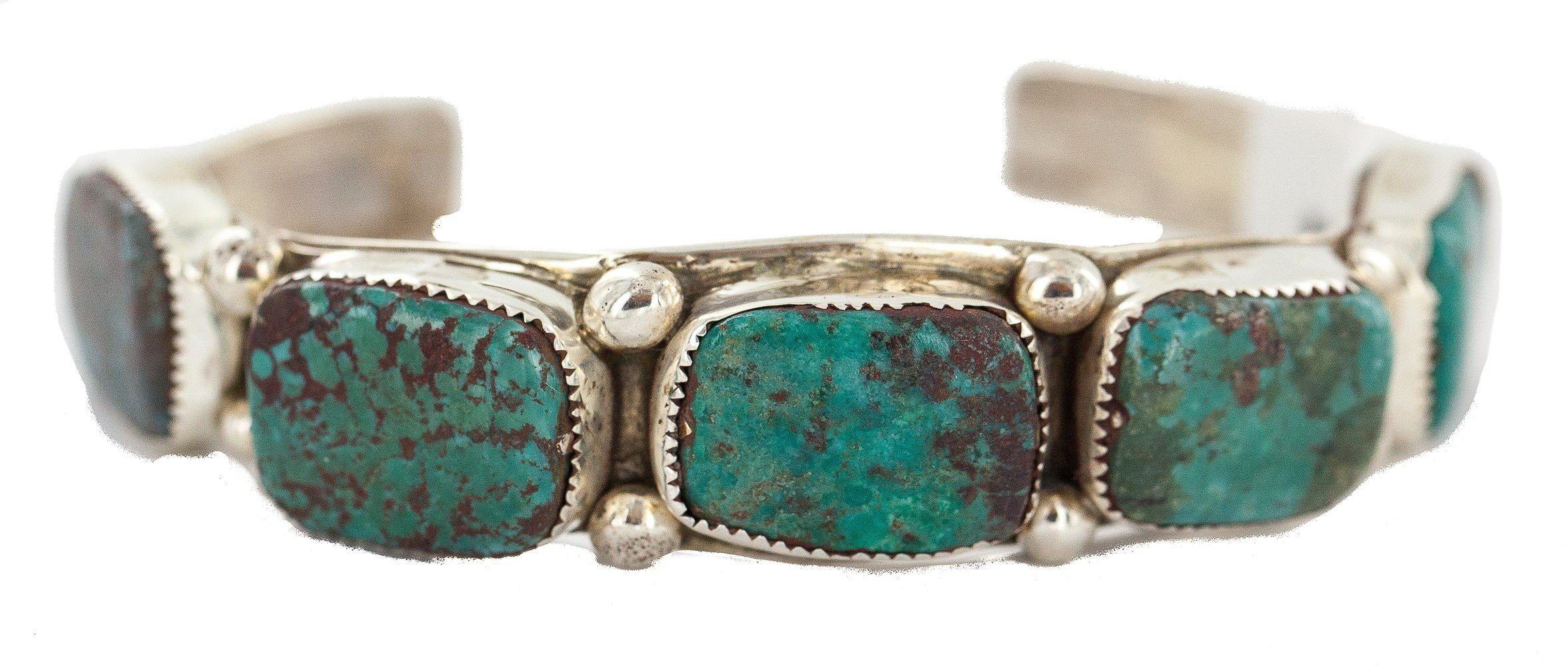 $600 Retail Tag Handmade Authentic Nugget Navajo Silver Made by Robert Little Natural Turquoise Native American Cuff Bracelet
