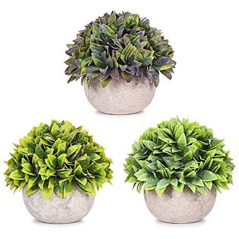 Mini Artificial Topiary Plants in Pot Home Decor Fake Plant Kitchen Office 3pack