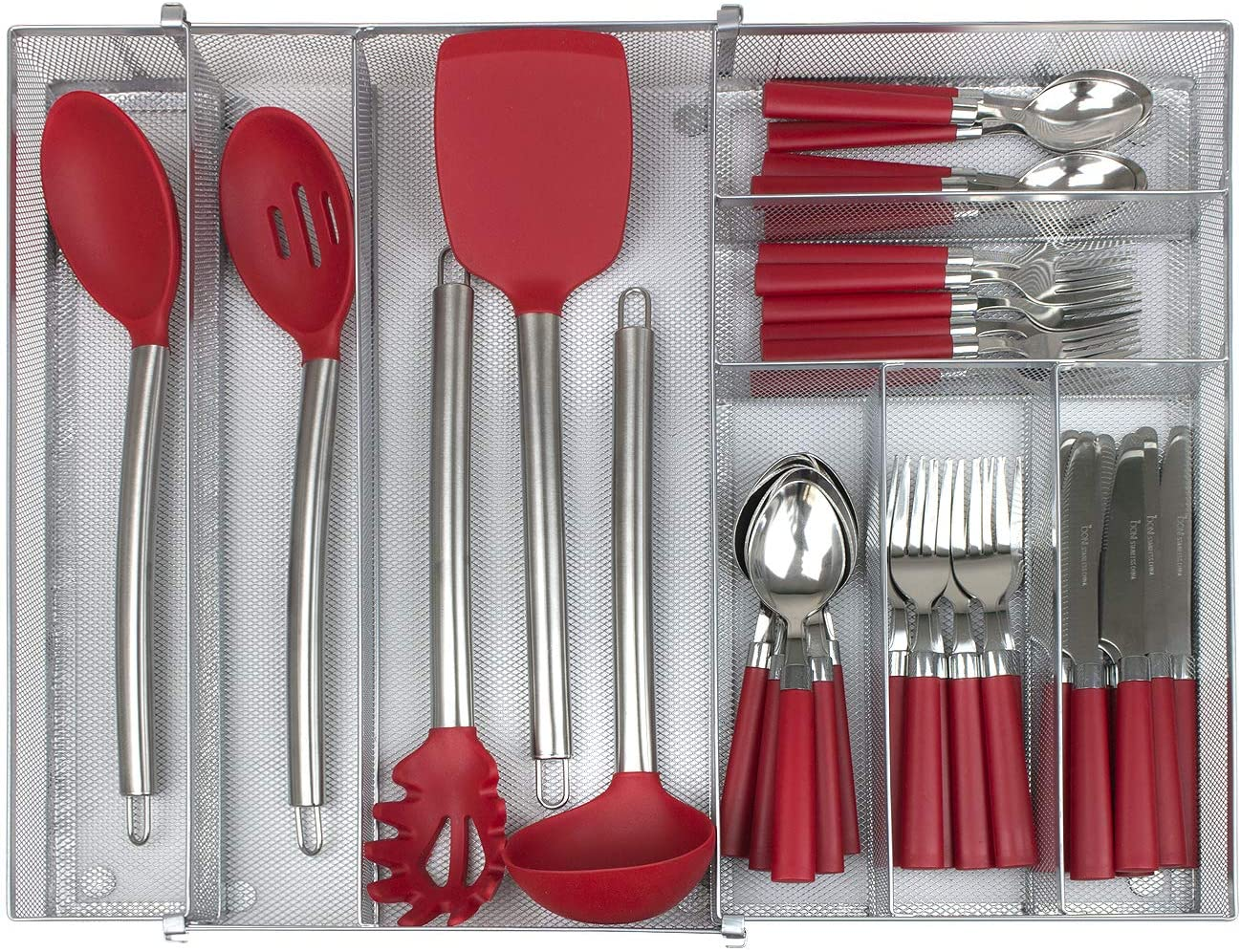 Sorbus Flatware Drawer Organizer, Expandable Cutlery Drawer Trays for Silverware, Serving Utensils, Multi-Purpose Storage for Kitchen, Office, Crafts, Bathroom Supplies, 8 Sections, Steel (Silver)