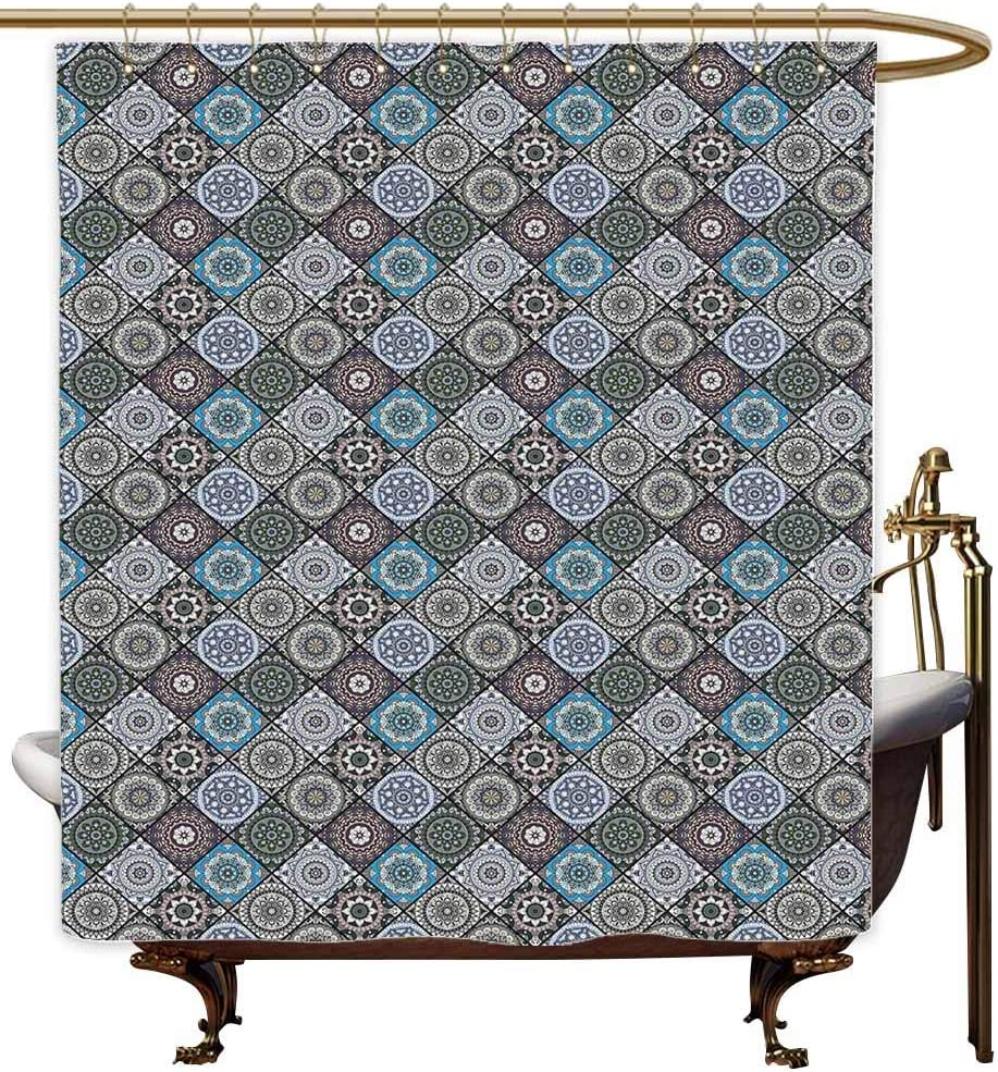 Sunnyhome Cortina de regadera para Mujer, diseño de Mandala Hexagonal, diseño de Mandala Mexicana, Estilo Vintage: Amazon.es: Hogar