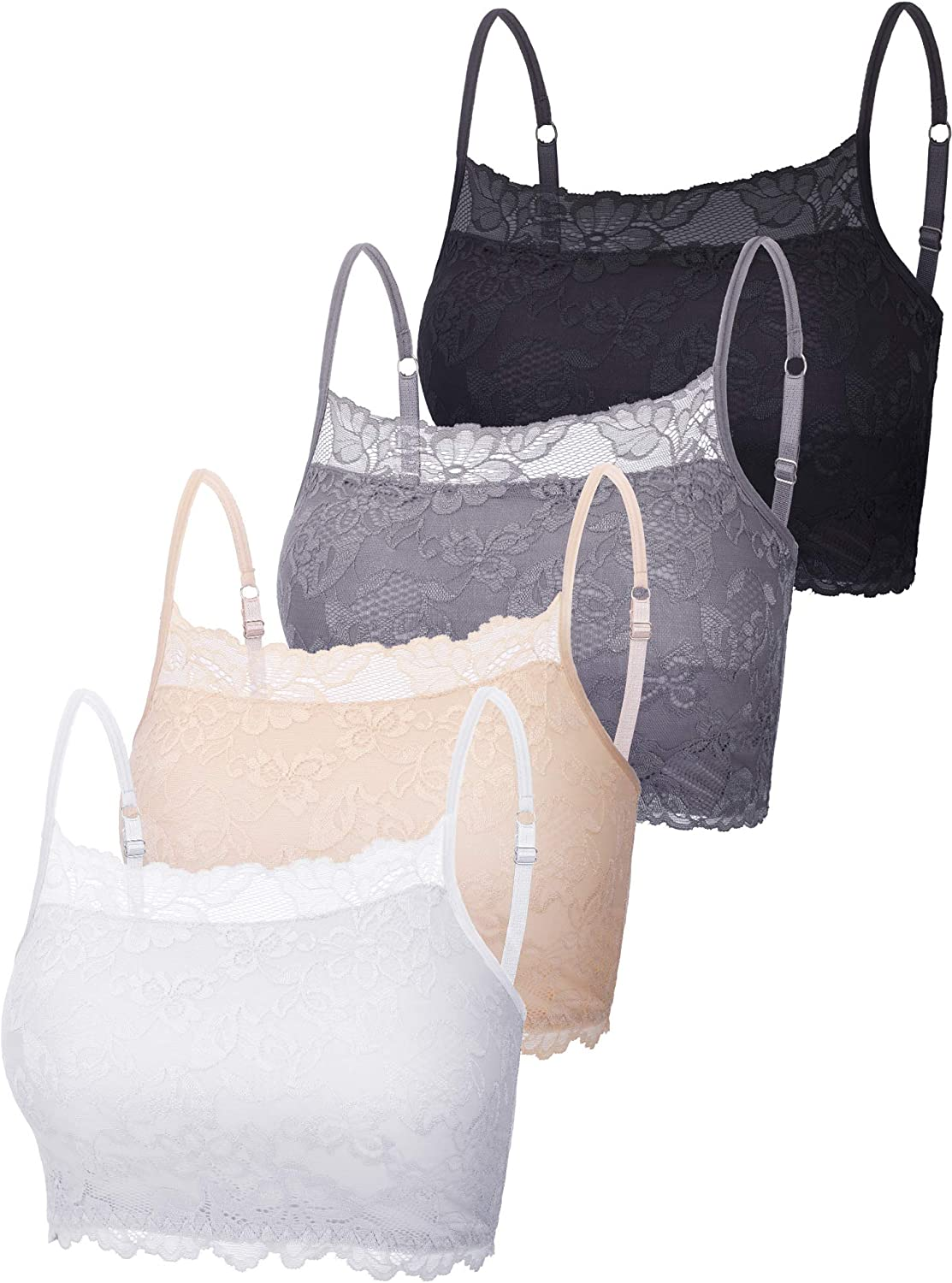 4 Pieces Women's Lace Cami Stretch Lace Half Cami Breathable Lace Bralette Top for Women Girls