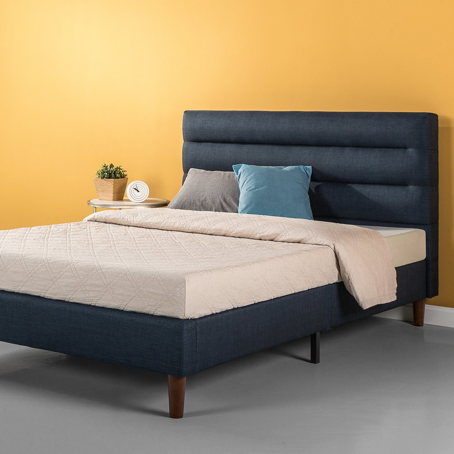 Zinus Upholstered Horizontally Cushioned Platform Bed Mattress Foundation Easy Assembly Strong Wood Slat Support Navy, Queen