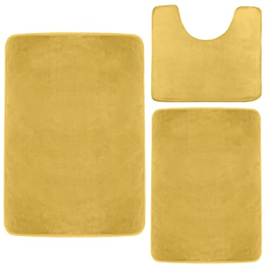 Clara Clark Memory Foam Bath Mat, Ultra Soft Non Slip and Absorbent Bathroom Rug. – Camel Gold, Set of 3 - Small/Large/Contour