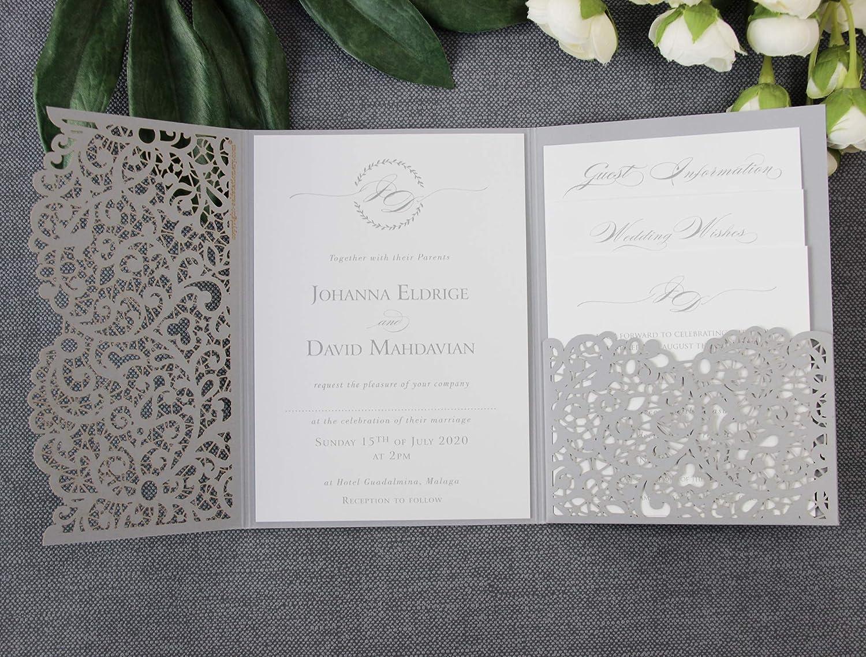50 Cards Pack Grey Wedding Invitations With Envelopes Set Laser Cut Diy Cards Kit Main Invitation Day Invite Evening Invite Rsvp Wedding Wishes Sample Amazon Co Uk Handmade