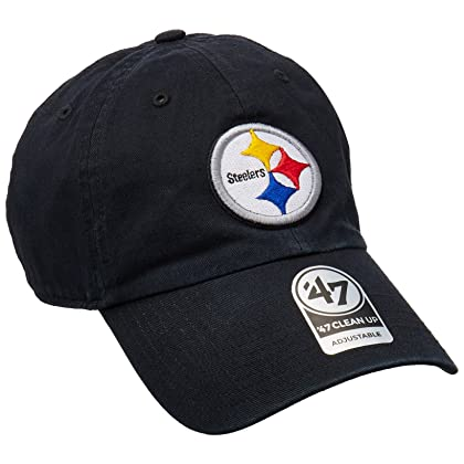 premium selection fea07 f09c1  47 NFL Pittsburgh Steelers Clean Up Adjustable Hat, Black, One Size Fits  All Fits All