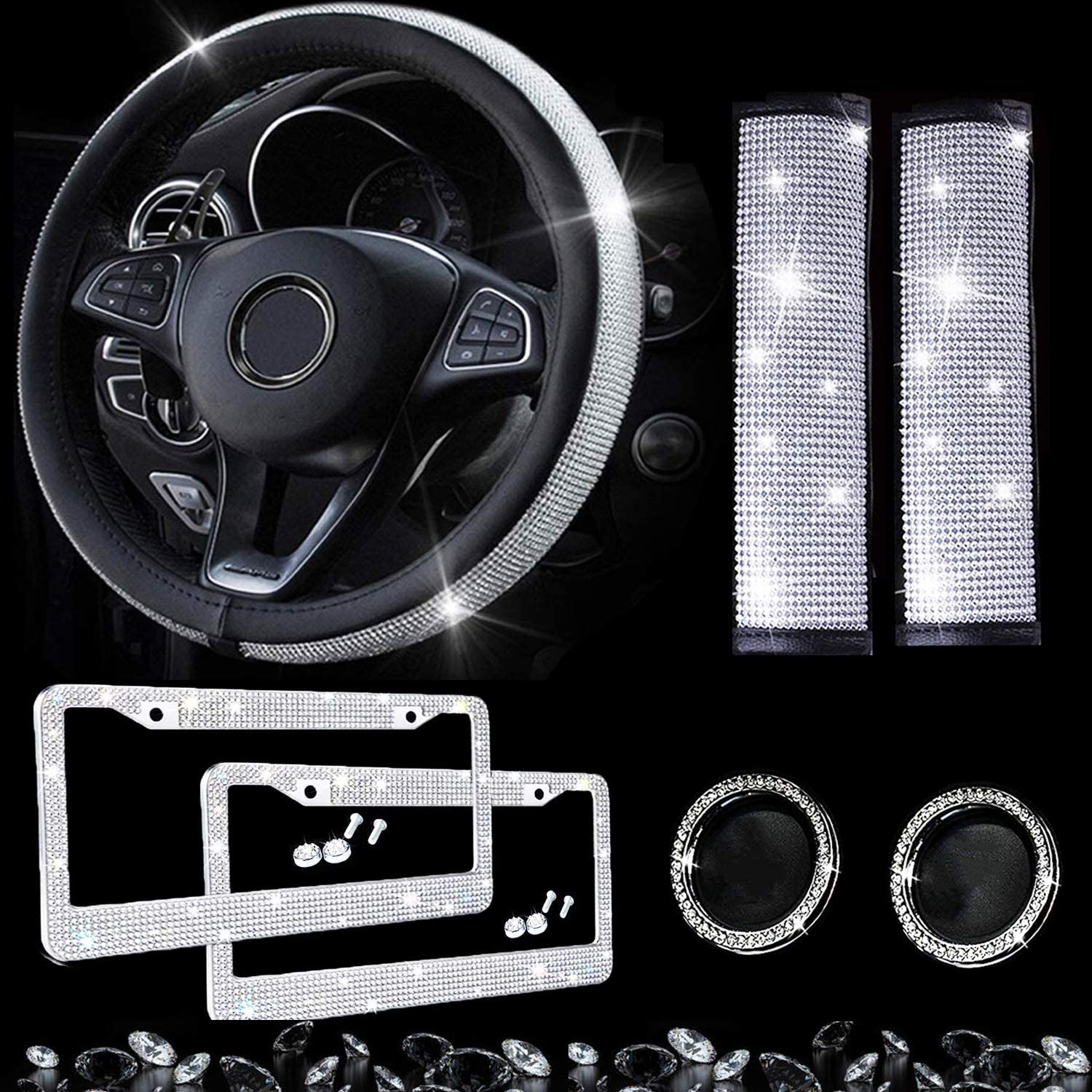 Dyshuai 7Pieces Bling Car Accessories Set-15Inch Glitter Bling Car Steering Wheel Cover, Diamond License Plate Frames, Rhinestone Emblem Sticker Rings, Crystal Seat Belt Covers (Bling-7Packs)