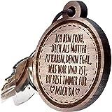 Schlüsselanhänger Holz rund mit Gravur zum Muttertag | Ich bin froh... |