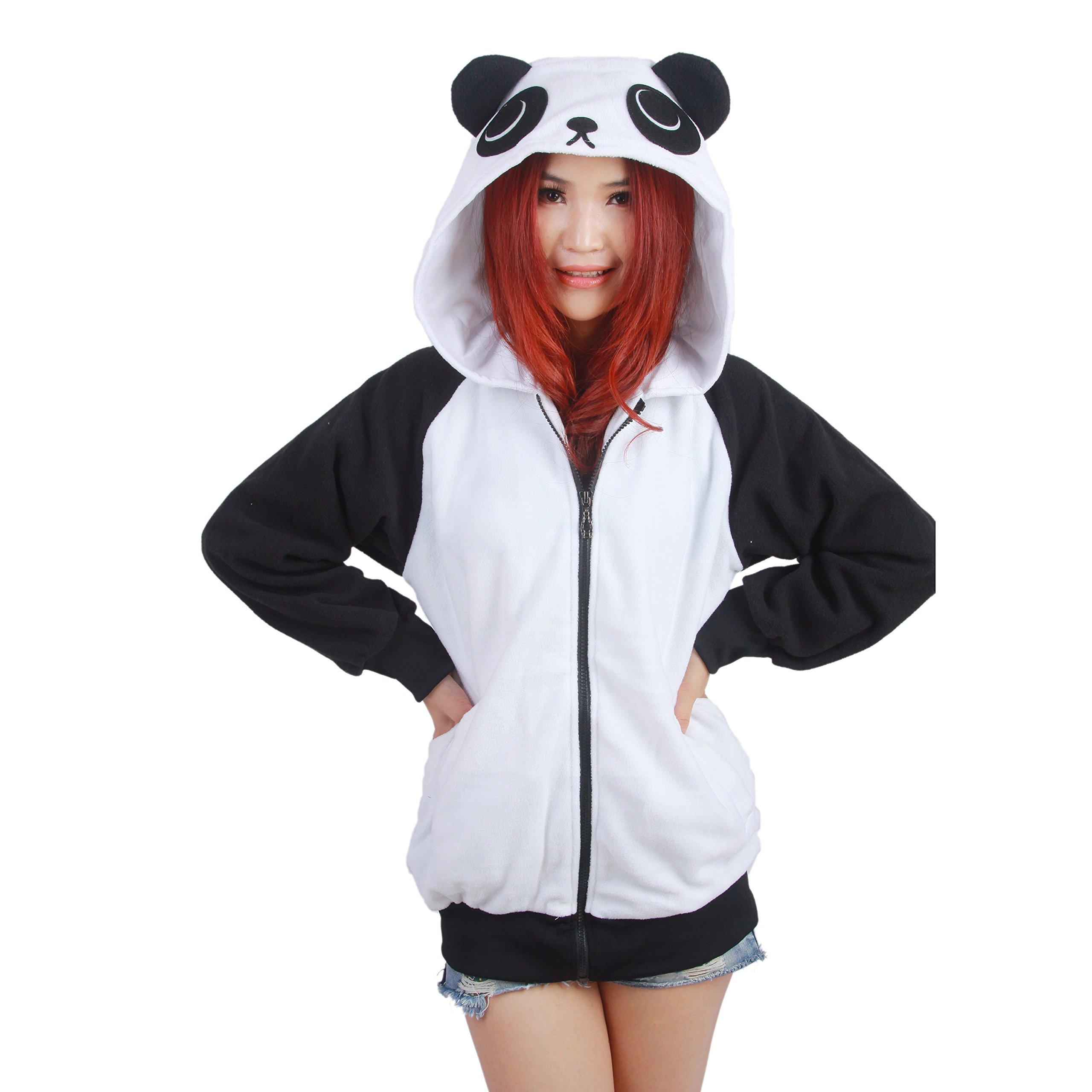 PALMFOX Unisex Cute Panda Hoodies Valentines Sweaters Sweatshirts Pullover Zip Valentine Gift