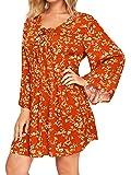 Milumia Womens Floral Print Front Cross Deep V-Neck Flare Sleeve Loose Short Mini Dress