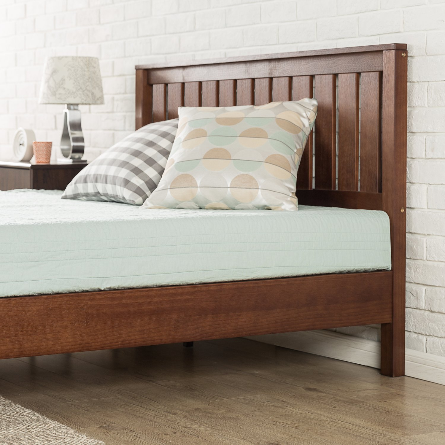 Zinus 12 Inch Deluxe Wood Platform Bed with Headboard / No Box Spring Needed / Wood Slat Support / Antique Espresso Finish, Full by Zinus (Image #4)