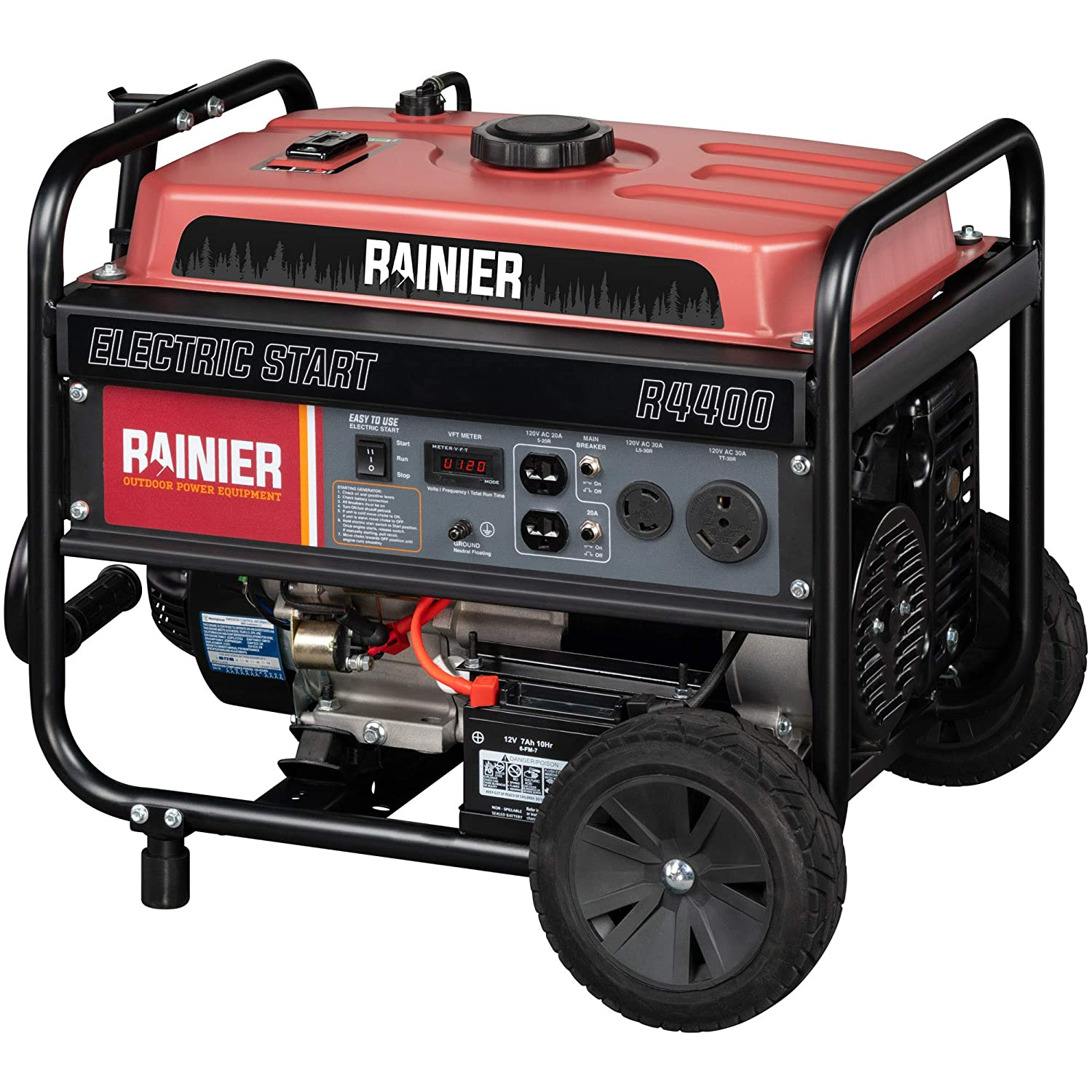 Rainier R4400 Portable Generator with Electric Start – 4400 Peak Watts 3600 Rated Watts – Gas Powered – CARB Compliant