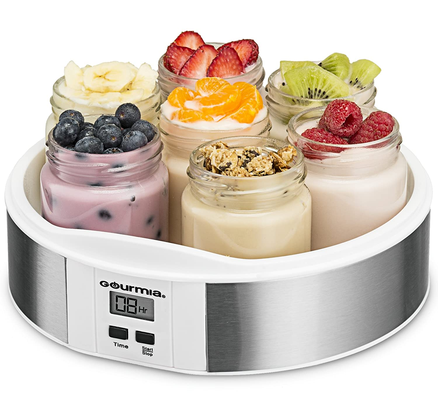 Gourmia GYM1620 Digital Yogurt Maker – 7 Glass 6 oz Jars – Custom Flavor Thickness – Timer Control Display – BPA-Free – Bonus Recipe Book