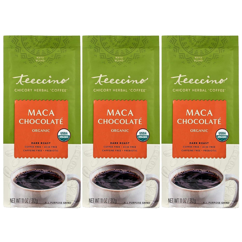 Teeccino Chicory Coffee Alternative – Maca Chocolaté – Ground Herbal Coffee That's Prebiotic, Caffeine-Free & Acid Free, Dark Roast, 11 Ounce (Pack of 3)