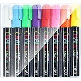 GAINWELL Pennarelli a Gesso Liquido - Confezione da 8 Colori Vivaci - Punta 6 mm - Per superfici Non Porose come Lavagne, Pannelli, Vetro, Ceramica