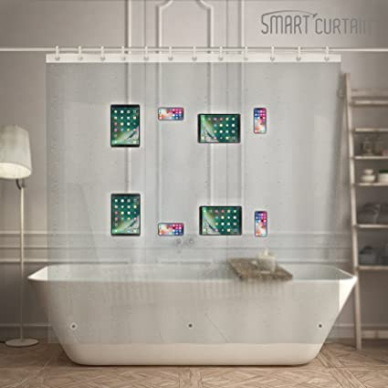EVA Shower Curtain Liner With Waterproof 8 Clear Pockets Tablet IPad IPhone Phone Holder 72quot