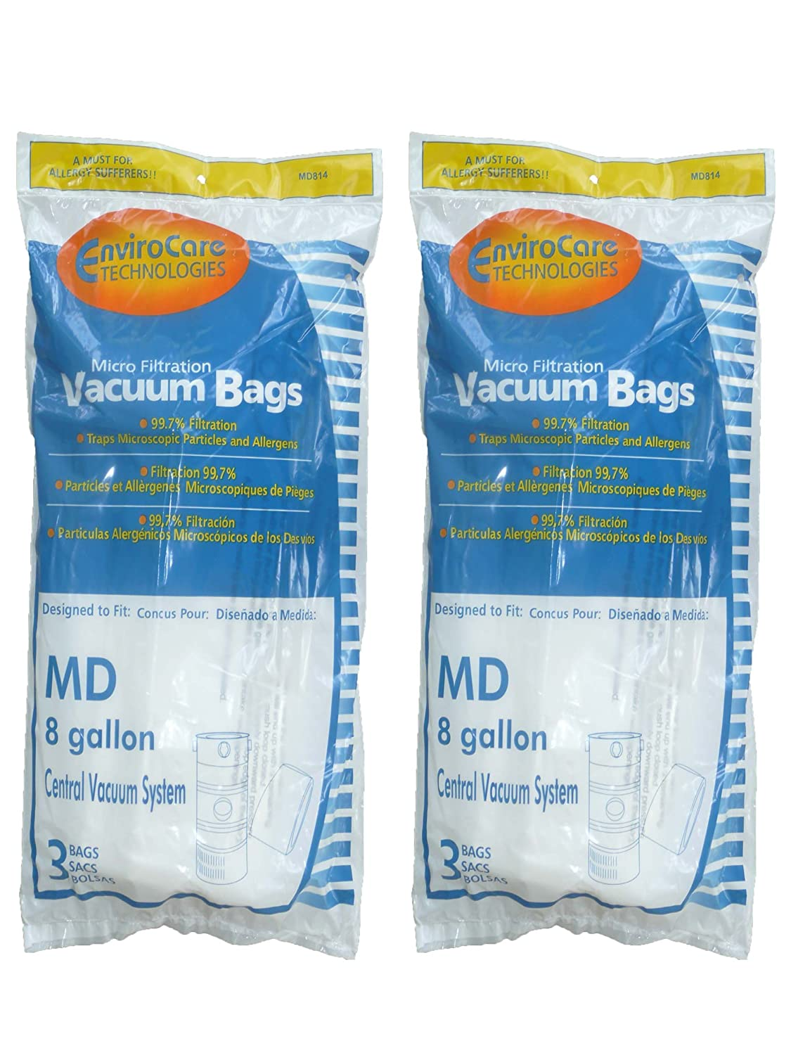 EnviroCare Replacement Vacuum Bags for Modern Day 8 Gallon Central Vacuums 6 Pack MD814