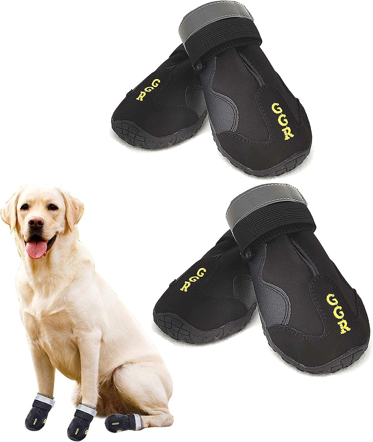 Dog Socks 4 Pcs Dog Shoes with Reflective Strap Breathable Waterproof Dog Rain Boots Pet Paw Protector Socks for Small Dogs 1#