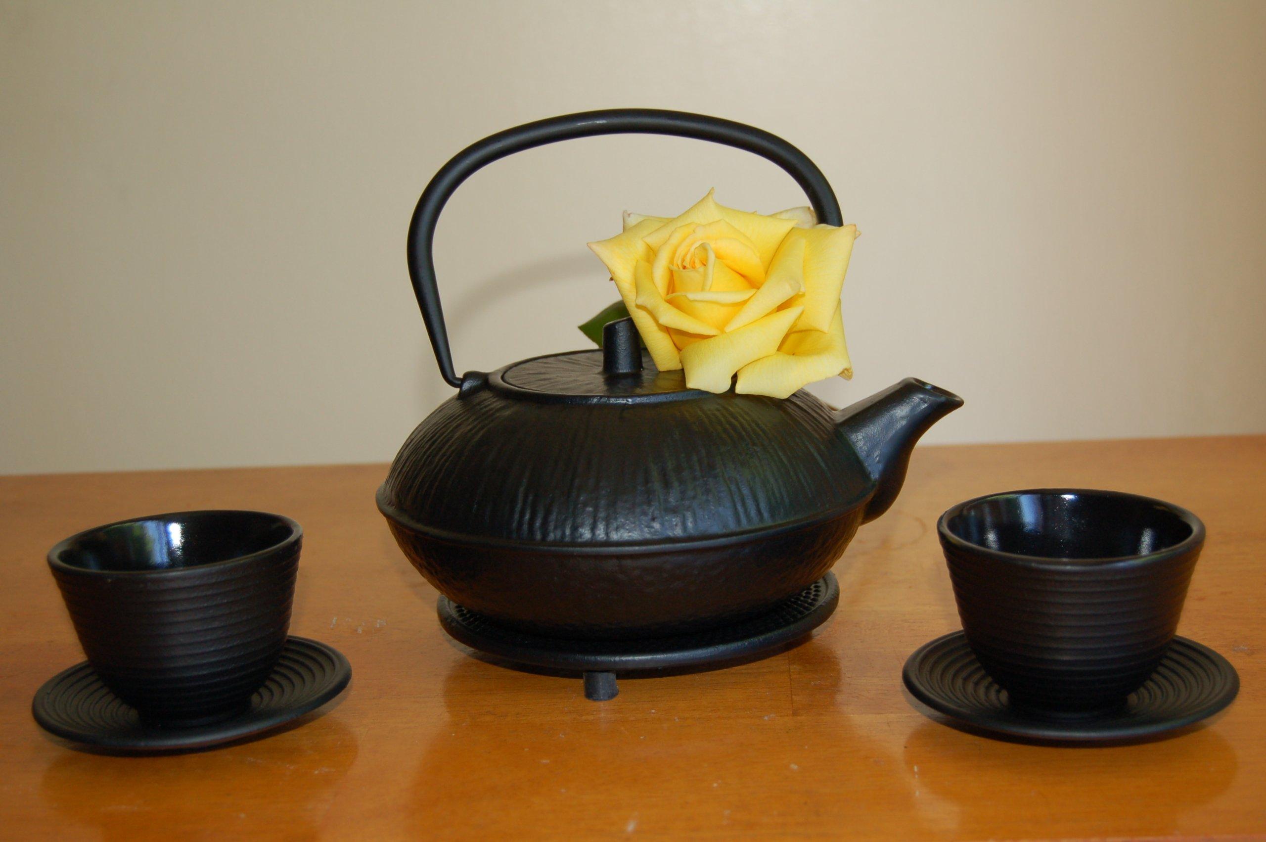 Japanese Style Cast Iron Teapot Set 37 Ounces Cups Trivet by Blue Moon Goods