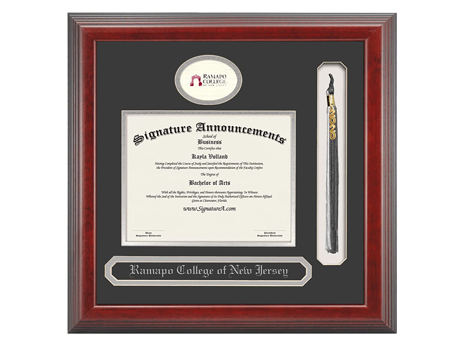Sculpted Foil Seal Name /& Tassel Graduation Diploma Frame 16 x 16 Cherry Signature Announcements Ramapo-College-of-New-Jersey Undergraduate