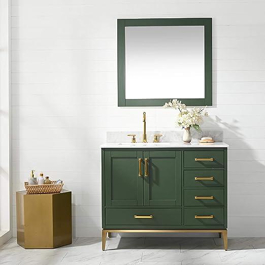 Amazon Com Urbanfurnishing Net Joy 42 Inch 42 Bathroom Sink Vanity Set With White Italian Carrara Marble Top Green Home Kitchen
