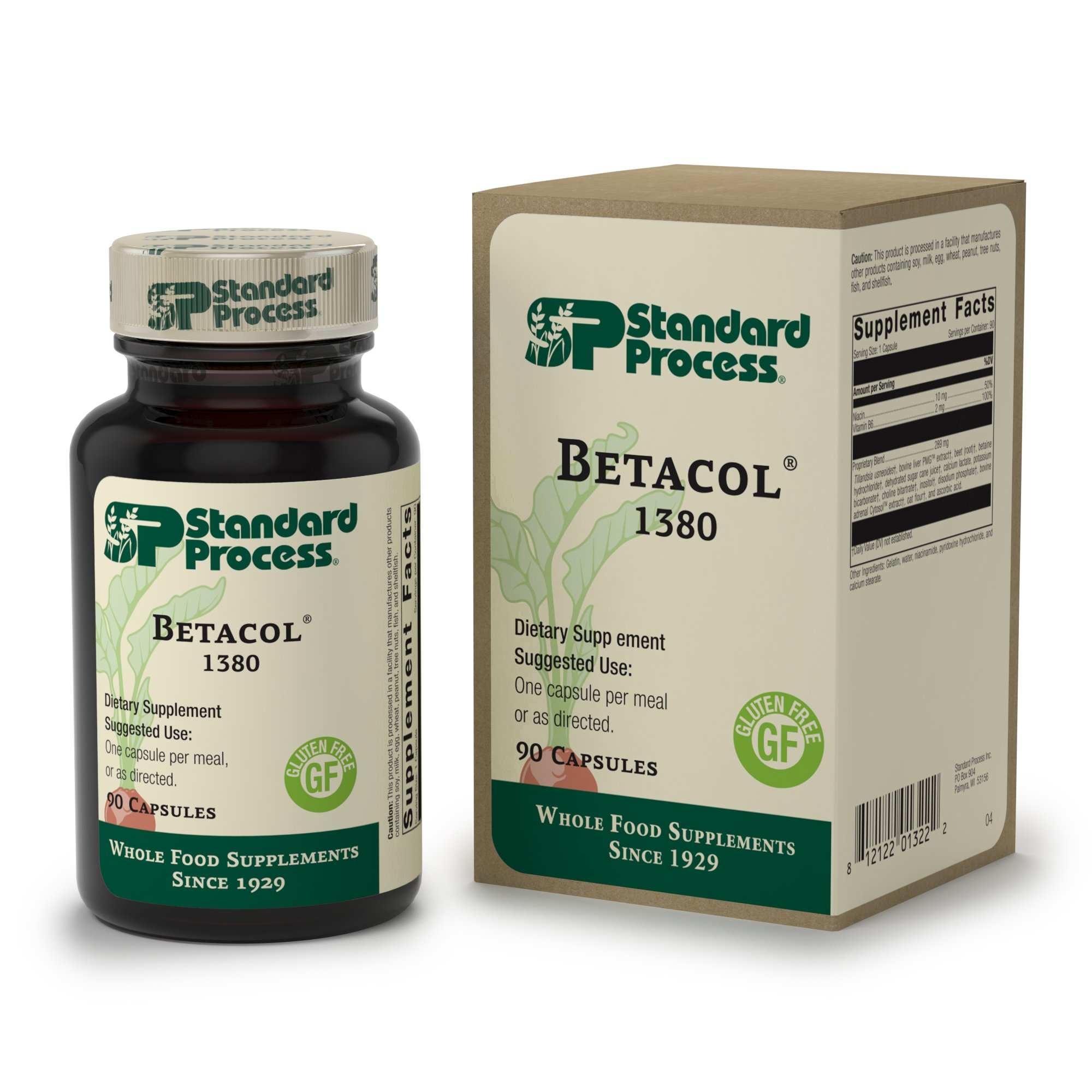 Standard Process - Betacol - Liver Supplement, 10 mg Niacin, 2 mg Vitamin B6, Tillandsia Usneoides, Supports Healthy Liver Function and Protein Metabolism - 90 Capsules