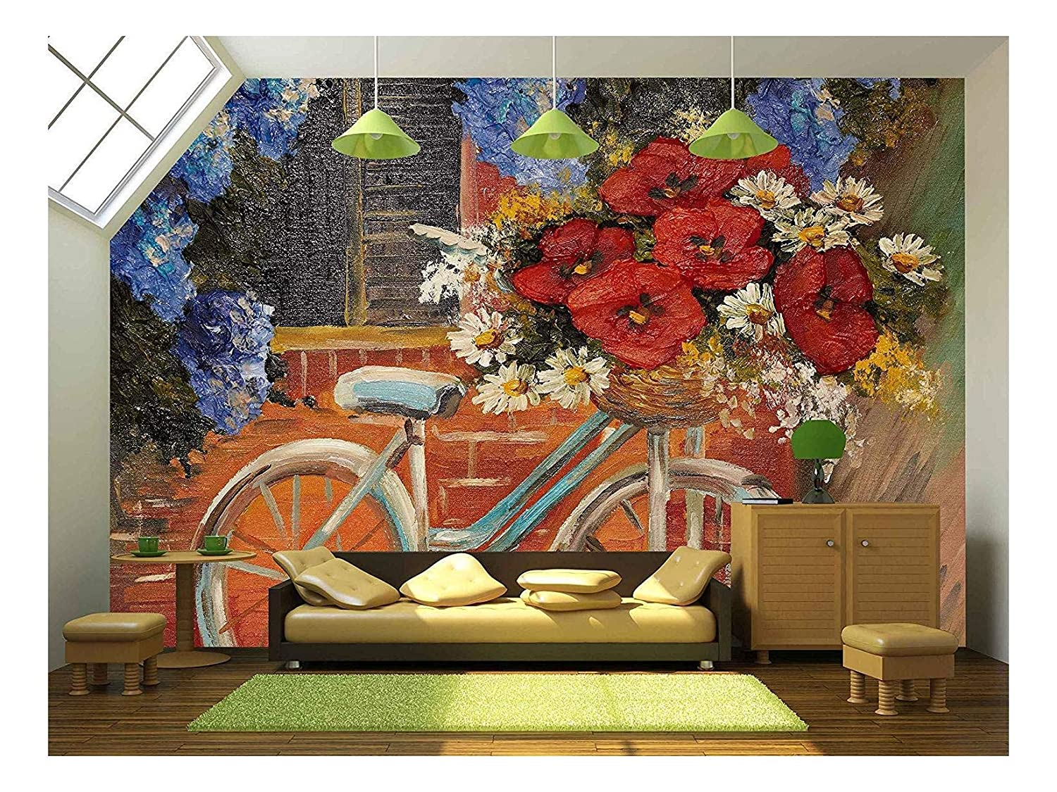 Oil Painting Flowers Near A Wall Bike With A Bouquet Of Flowers