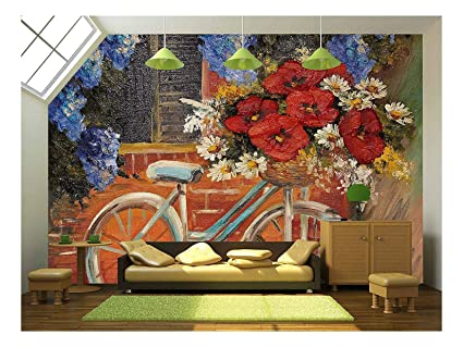 Wall26 Oil Painting On Canvas Flowers Near A Wall Bike With A Bouquet Of Flowers Outdoor Medieval Removable Wall Mural Self Adhesive Large
