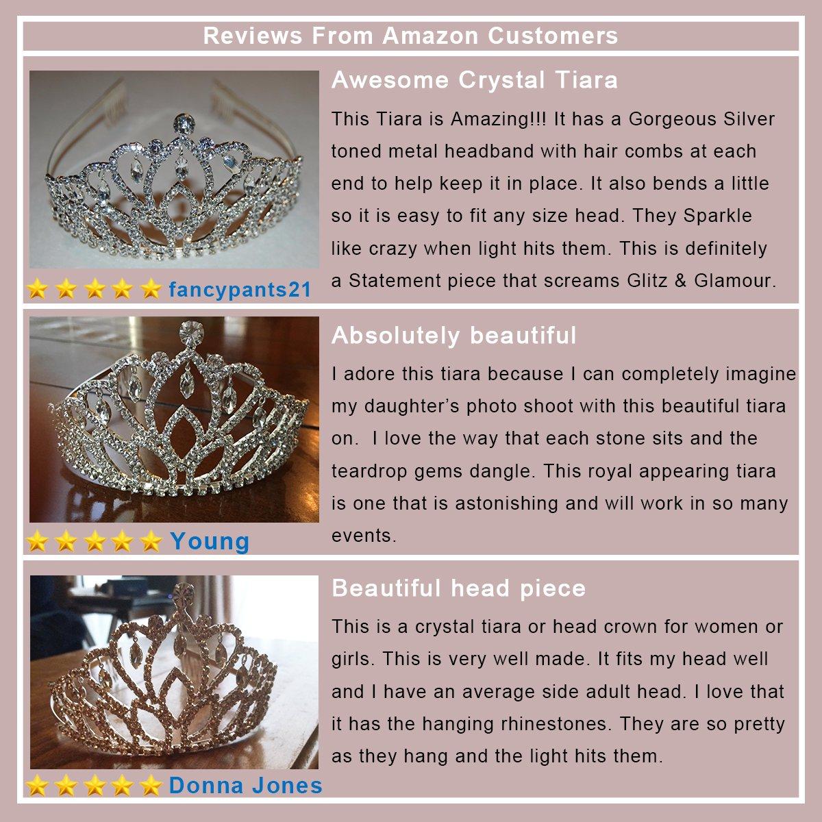 Elegant Tiara Crystal Hair Crown - Rhinestones Headband for Queen, Bridal, Princess in Wedding, Party and Birthday 1-2 - by NIPOO by Nipoo (Image #6)