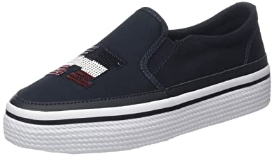 Tommy Hilfiger Damen Textile Light Weight Slip on Sneaker, Blau (Midnight 403), 39 EU