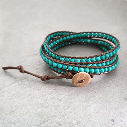a259de4be3d4 Image Unavailable. Image not available for. Color  Handmade Wrap Bracelet  Green Turquoise Coffee Brown Leather Triple ...