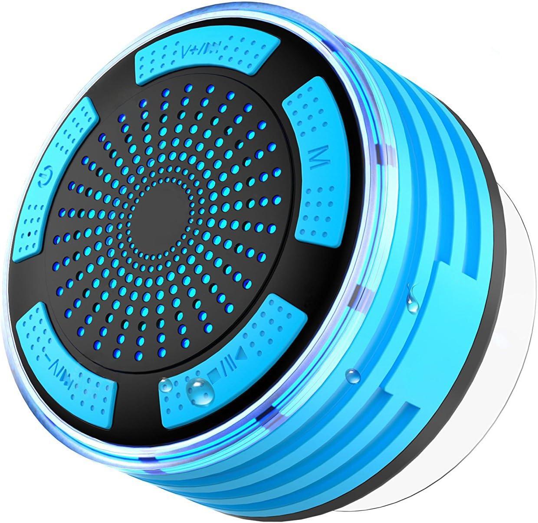 Radio de ducha impermeable IPX7, altavoz de ducha seguro, bluetooth 4.1 con ventosa, altavoz inalámbrico portátil con luz LED, radio FM y micrófono integrado