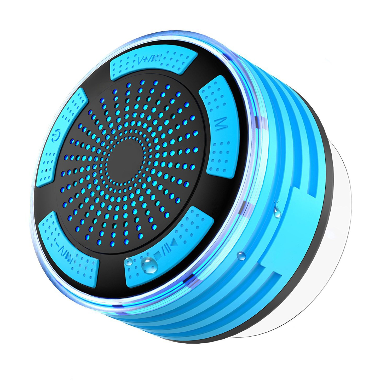 IPX7 Waterproof Shower Radio, SEGURO Bluetooth 4.1 Shower Speaker with Suction Cup, Portable Wireless Bluetooth Speaker with LED Mode Light, FM Radio and Build-in Mic IPX7 Shower Speaker