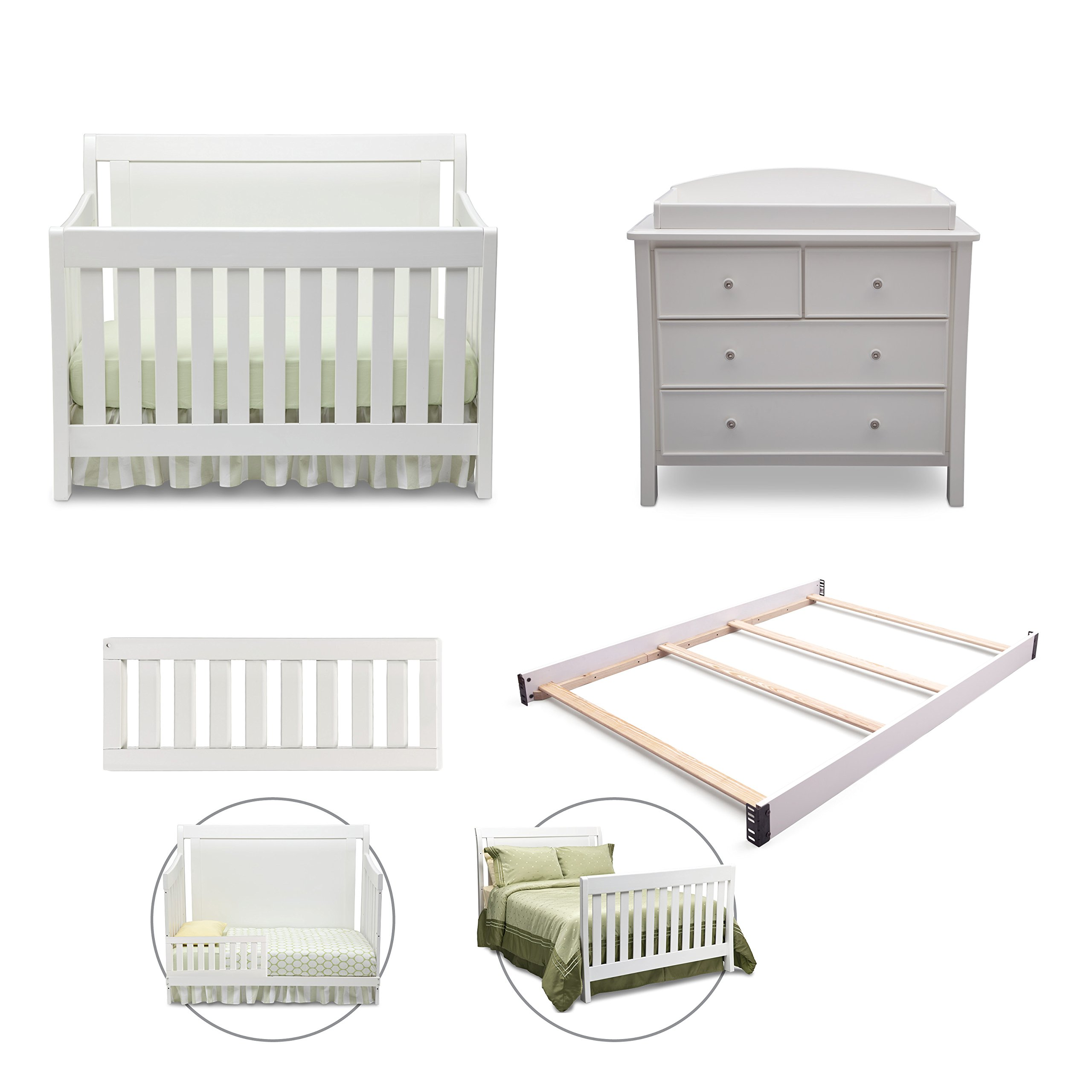 Simmons Kids Broadway 5-Piece White Ambiance Nursery Furniture Set Including Crib, 4 Drawer Dresser, Changing Top, Toddler Full Size Bed Rails & Guardrails