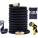 Garden Hose,50FT Garden Hose Expandable,Spray Nozzle with 9 Funtions,Extra Strength Fabric 5000D, High temperature Latex and Solid Brass Connector
