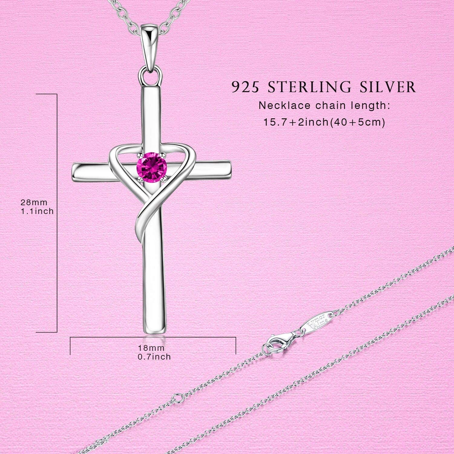 AmorAime 925 Sterling Silver Cross Necklace for Women Birthstone Necklace for Girls Birthstone Jewelry Gifts for Christmas,Birthday or Anniversary