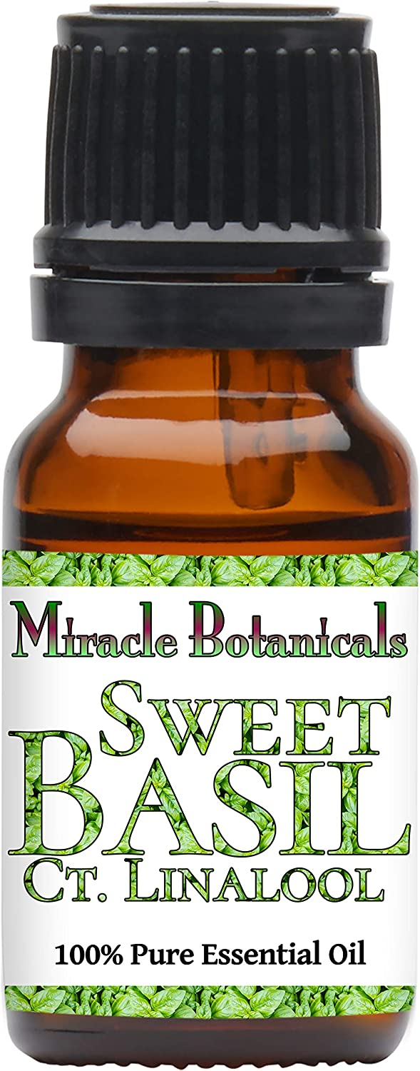 Miracle Botanicals Basil, Sweet ct. Linalool Essential Oil - 100% Pure Ocimum Basilicum - Therapeutic Grade (10ML)