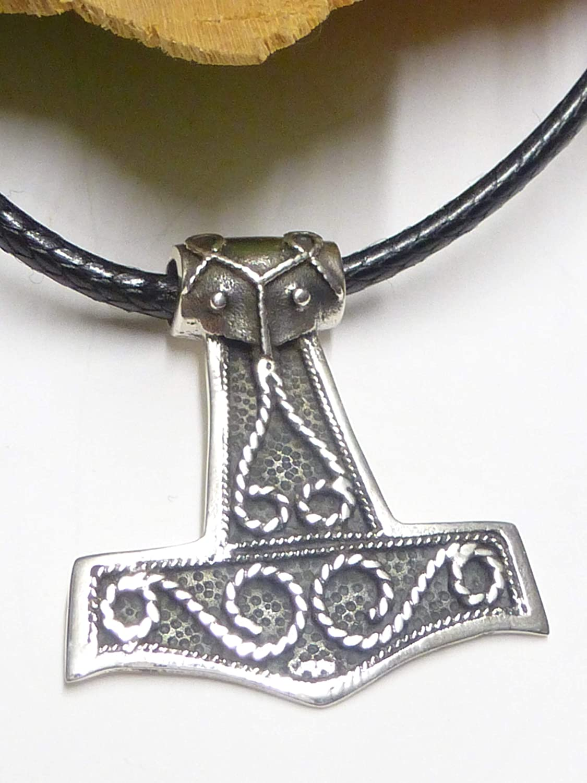 dise/ño de martillo de Thor de plata de ley con ornamentos Colgante de plata para hombre