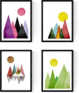 Nacnic Prints Geometric Mountains Nordic Style - Set of 1-250g Paper - Beautiful Poster Painting for Home Office Living Room