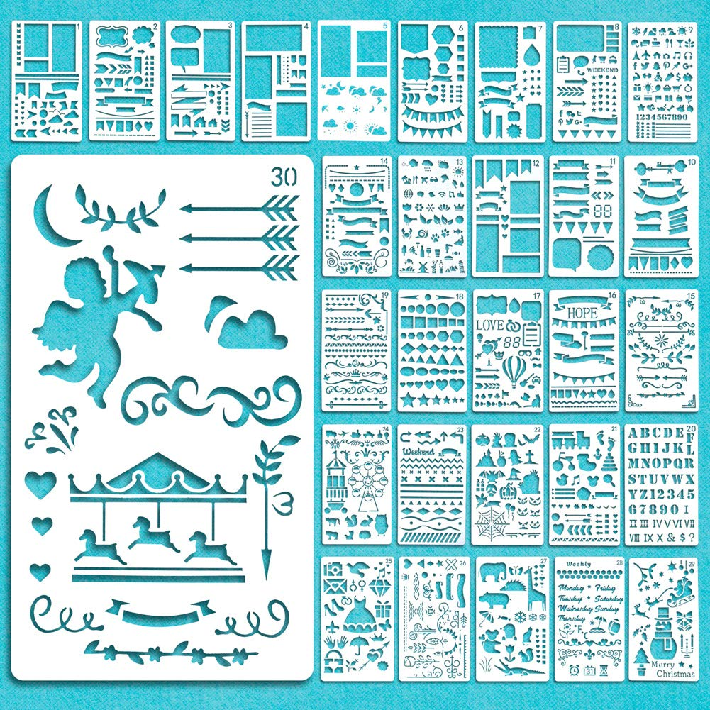 Stencil Journal Bullet, 30 pezzi Plastic Bullet Journal Stencil Template Set Planner di plastica con lettere alfabeto per DIY Drawing Template Ruler, Stencil per la stampa di diapositive Scrapbooking Card e progetti artistici taccuino diario album Graffiti