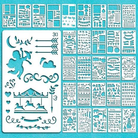 Bullet Journal Stencil Set,30 piezas plantilla dibujo Pintura Set,Plastico Plantillas Dibujo Stencil