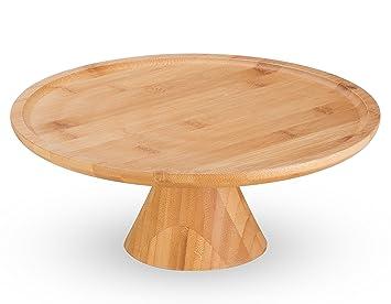 Soporte para tartas de bambú Natural por mosesmo: postre repostería pedestal|round centro de