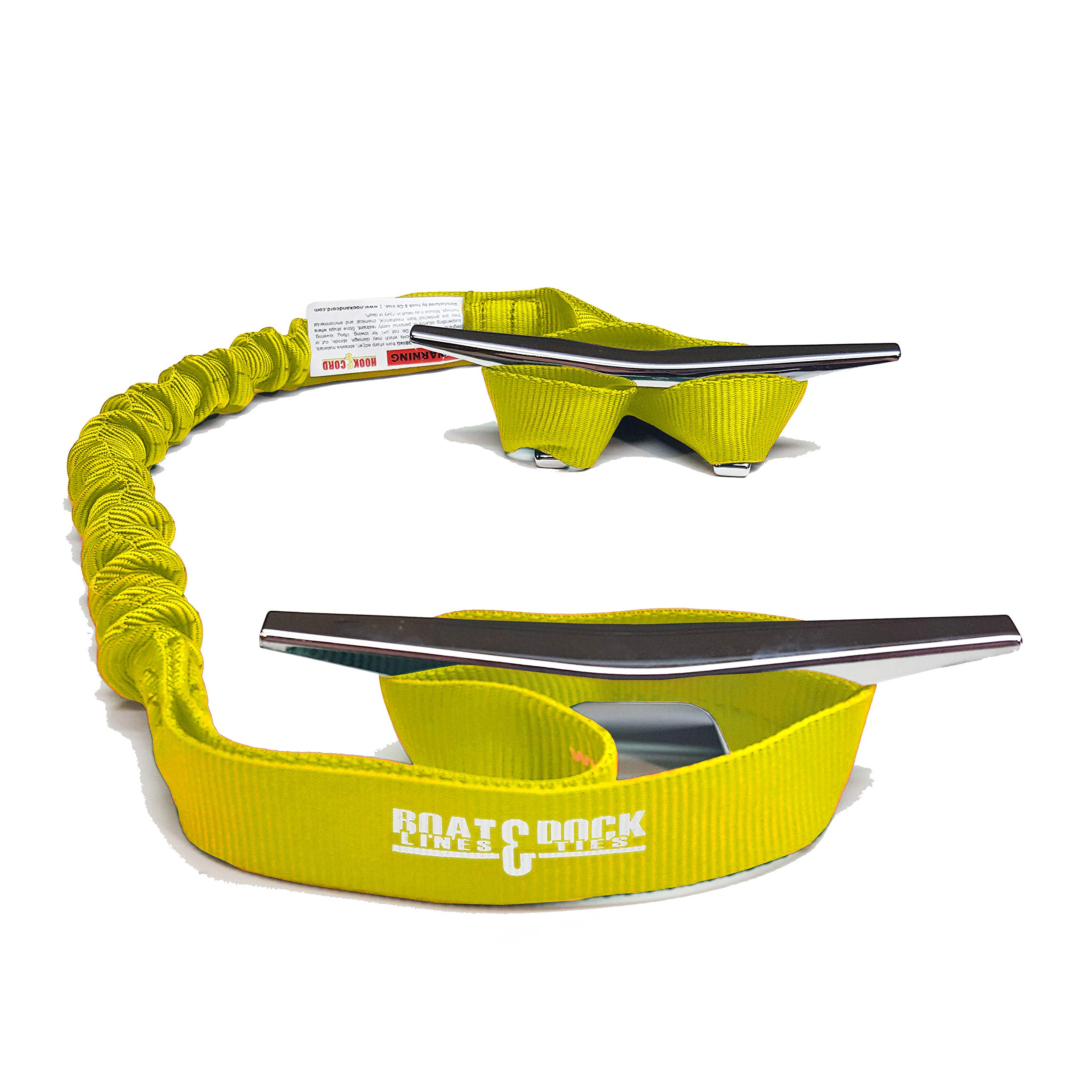 Hook & Cord Boat Dock Tie Bungee, Made in USA, 2 Loop Pack of 2, 30 inch Long (Yellow, 30 Inch)