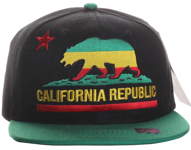 American Cities California Republic Flat Bill Bear Logo Only Style Snapback Hat Cap -
