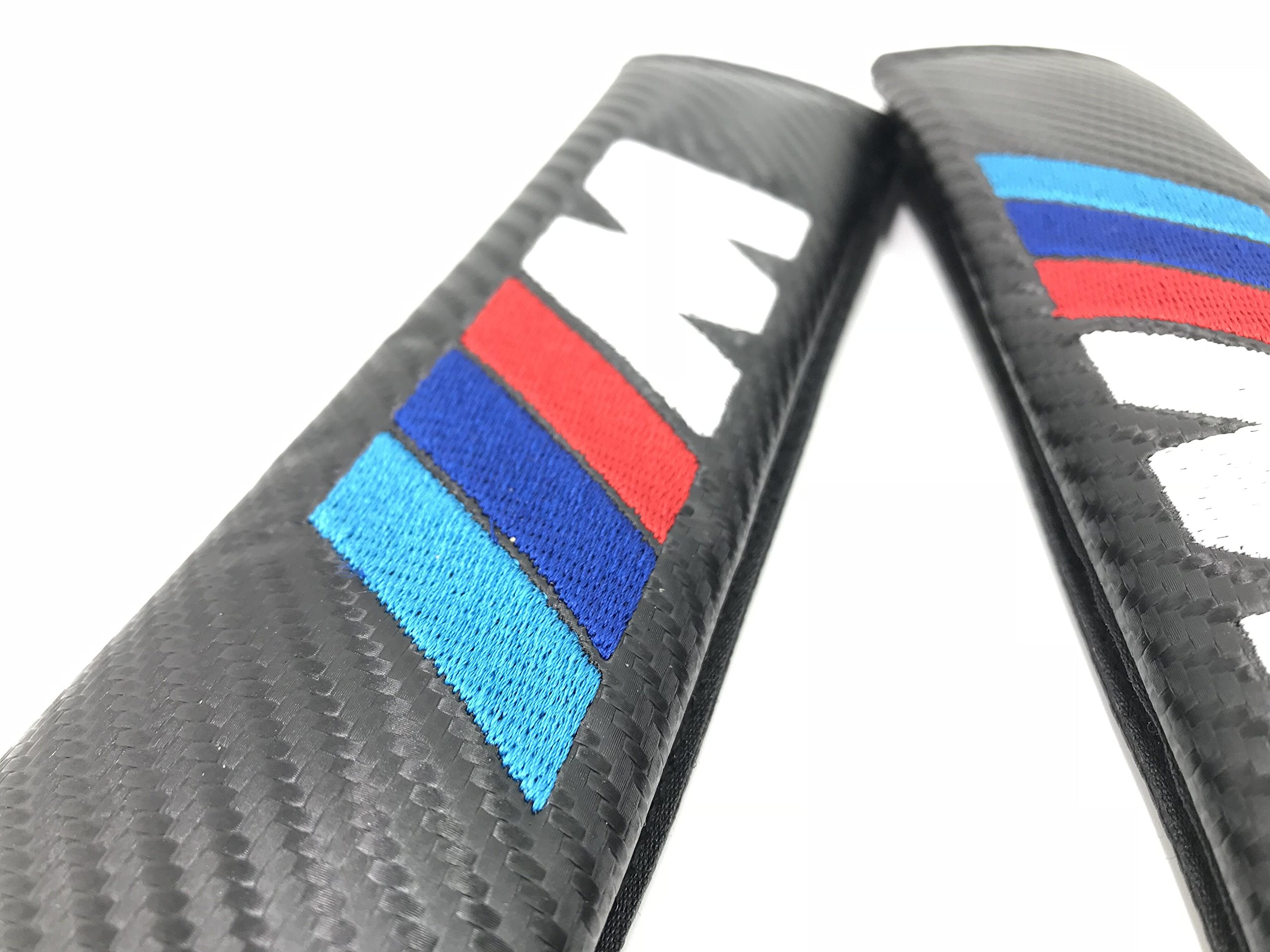 LLSW shop Car Automotive Advanced Carbon Fiber Seat Belt Pads Covers With Box and Gift Card (with M Logo)