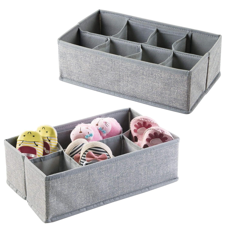 mDesign Organizador de tela - Juego de dos cajones organizadores de tela - Perfectos cajones de tela para ordenar su armario o cómoda - Con 8 compartimentos - Color: gris MetroDecor 7627MDB