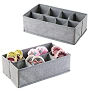mDesign Fabric Nursery Drawer Organizer for Baby Clothes, Diapers, Wipes - Pack of 2, 8 Compartments Each, Gray