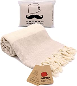 Bazaar Anatolia Diamond Turkish Towel 100% Cotton Peshtemal Bath Towel 77x38 Thin Lightweight Travel Camping Bath Sauna Beach Gym Pool Blanket Fouta Bridesmaid Gift Quick Dry Towels (Cream)