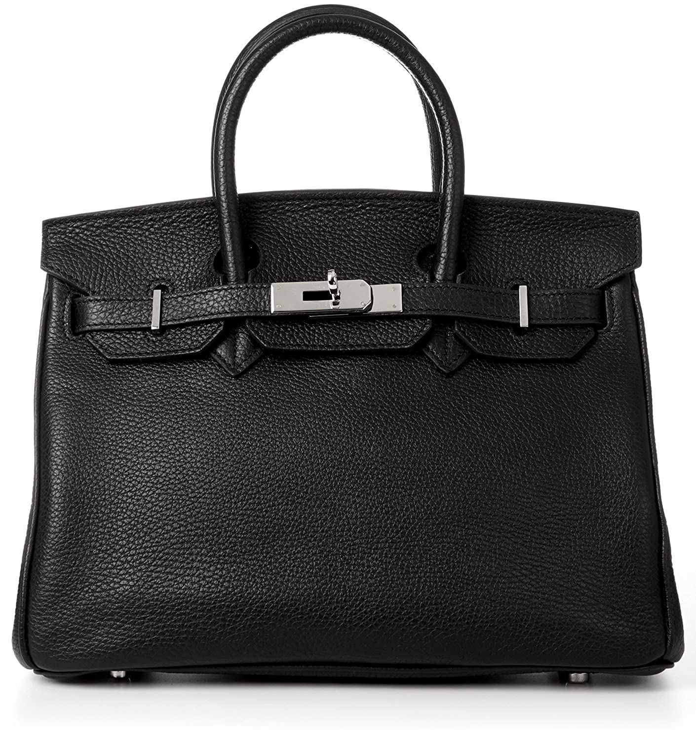 "Designer Handbag Caty 14"" Black Leather Satchel with Silver Hardware & Shoulder Strap Made in Italy"