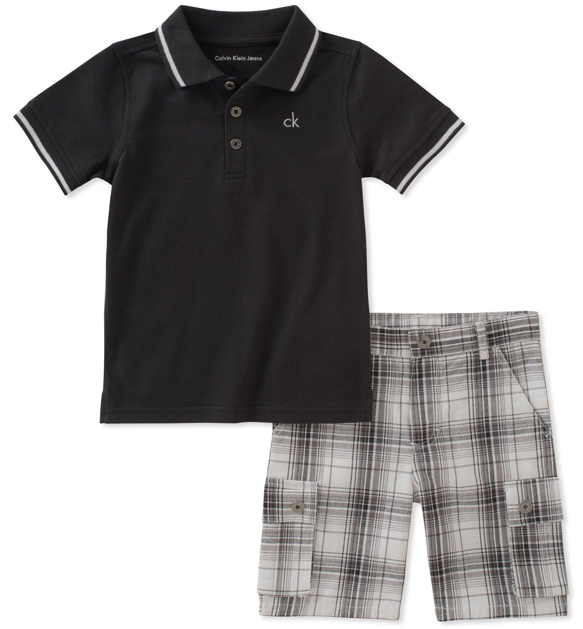 Calvin Klein Boys' Little 2 Pieces Polo Shorts Set, Black, 7